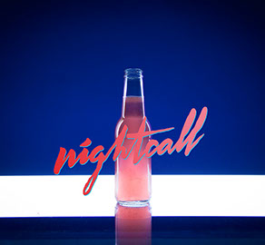 Photo du cocktail de Tigre Blanc, Nightcall, avec titre en typo